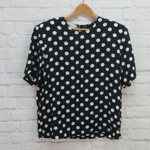 {Vintage} Christie & Jill Polka Dot Silk Shirt L